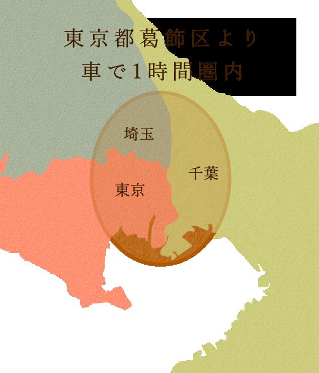 営業エリアは東京都葛飾区から車で1時間圏内となります